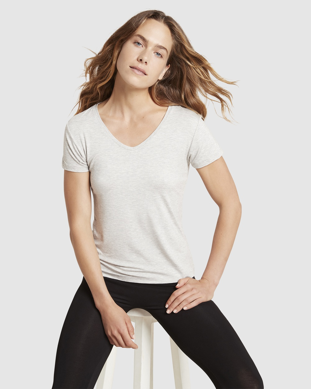 Boody Organic Bamboo Eco Wear - V Neck T Shirt - Short Sleeve T-Shirts (Light Marl) V-Neck T-Shirt
