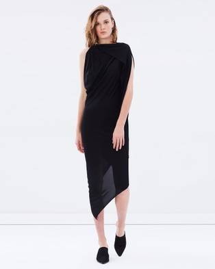 Bianca Spender – Black Jersey Origami Dress Black