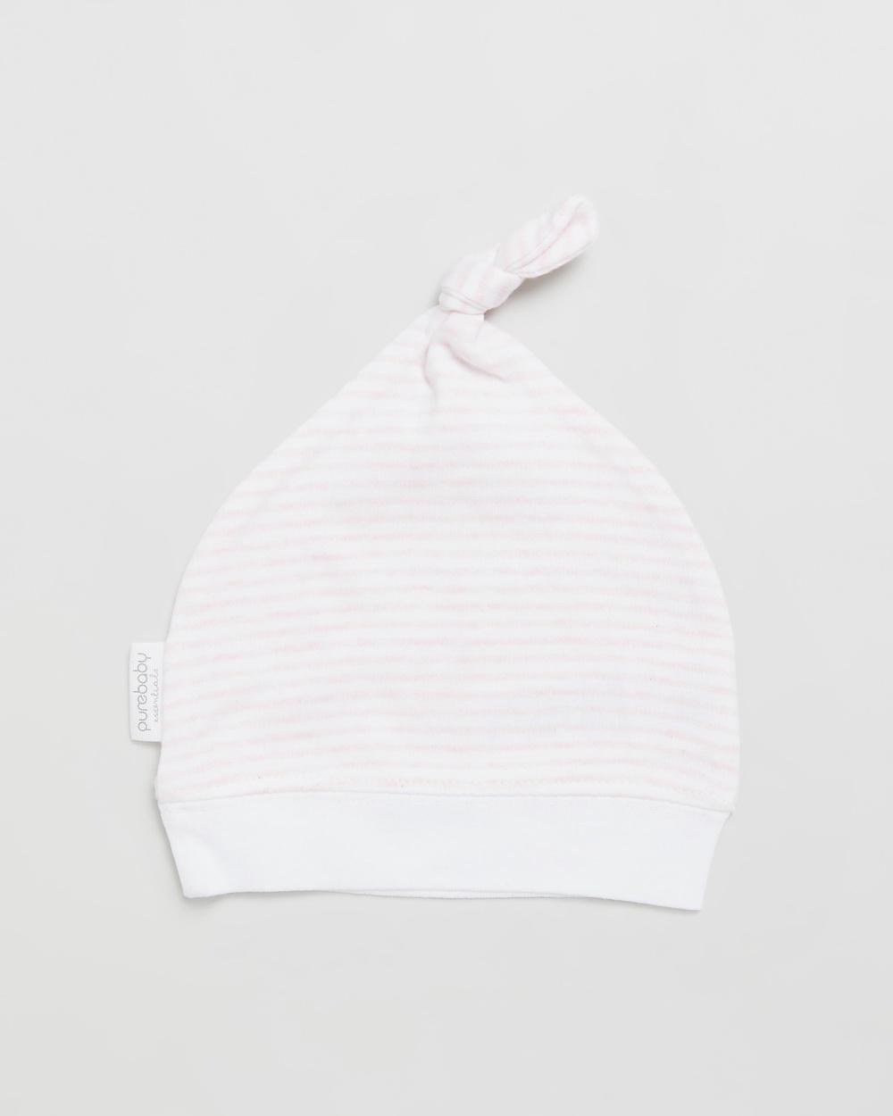 Purebaby Knot Hat Headwear Pale Pink Melange Stripe