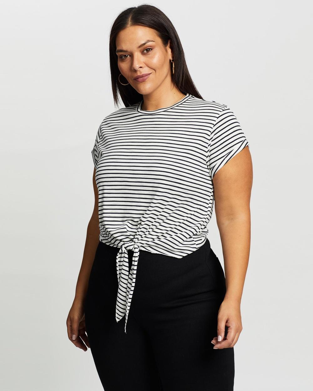 Atmos&Here Curvy - Cassie Tie Front Tee - T-Shirts & Singlets (Navy Stripe) Cassie Tie Front Tee
