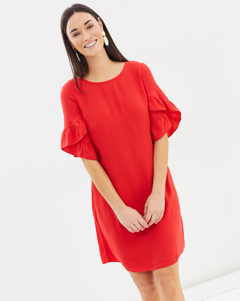 Dorothy Perkins Lace Up Block Shift Dress Dresses Red Lace-Up Block Shift Dress