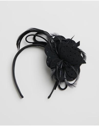 Max Alexander Felt Flower Fascinator With Feathers Black