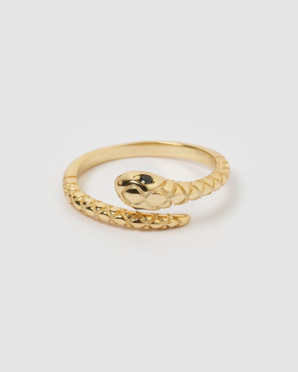 Izoa Ebony Snake Ring Jewellery Gold