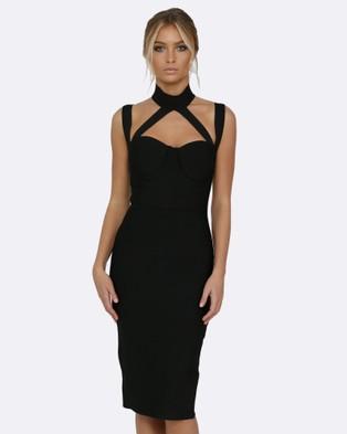 Honey Couture – NINA Halter Bustier Bandage Dress – Bodycon Dresses (Black)