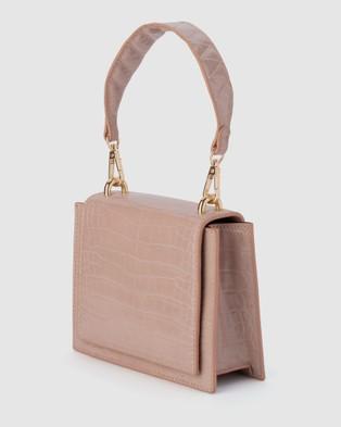 Olga Berg Molli Croc Embossed Top Handle Bag - Handbags (Pink)