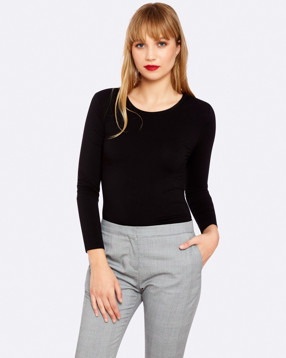 Oxford MAYA LONG SLEEVE T SHIRT Tops Black MAYA LONG SLEEVE T-SHIRT