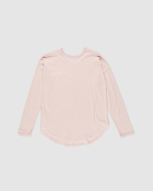 Decjuba Kids - Slouch Long Sleeve Tee   Teens - T-Shirts & Singlets (Blush) Slouch Long Sleeve Tee - Teens
