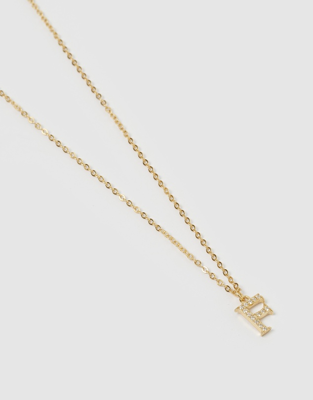 Women Crystal Letter F Necklace Gold