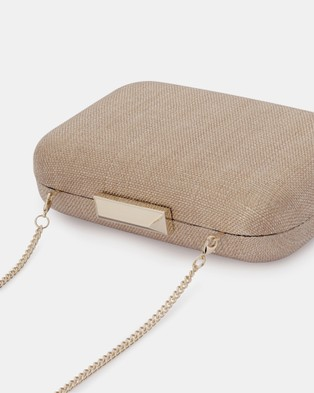Olga Berg Hailey Subtle Metallic Woven Clutch - Handbags (Taupe)