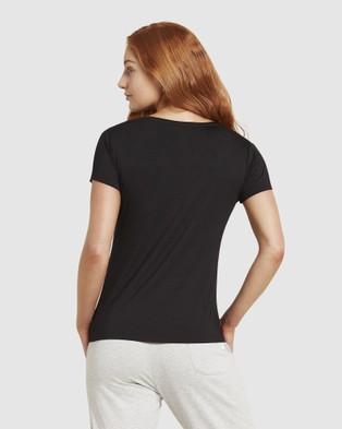 Boody Organic Bamboo Eco Wear - V Neck T Shirt - Short Sleeve T-Shirts (Black) V-Neck T-Shirt