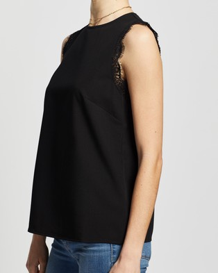Atmos&Here Genoa Lace Trim Top - Tops (Black)