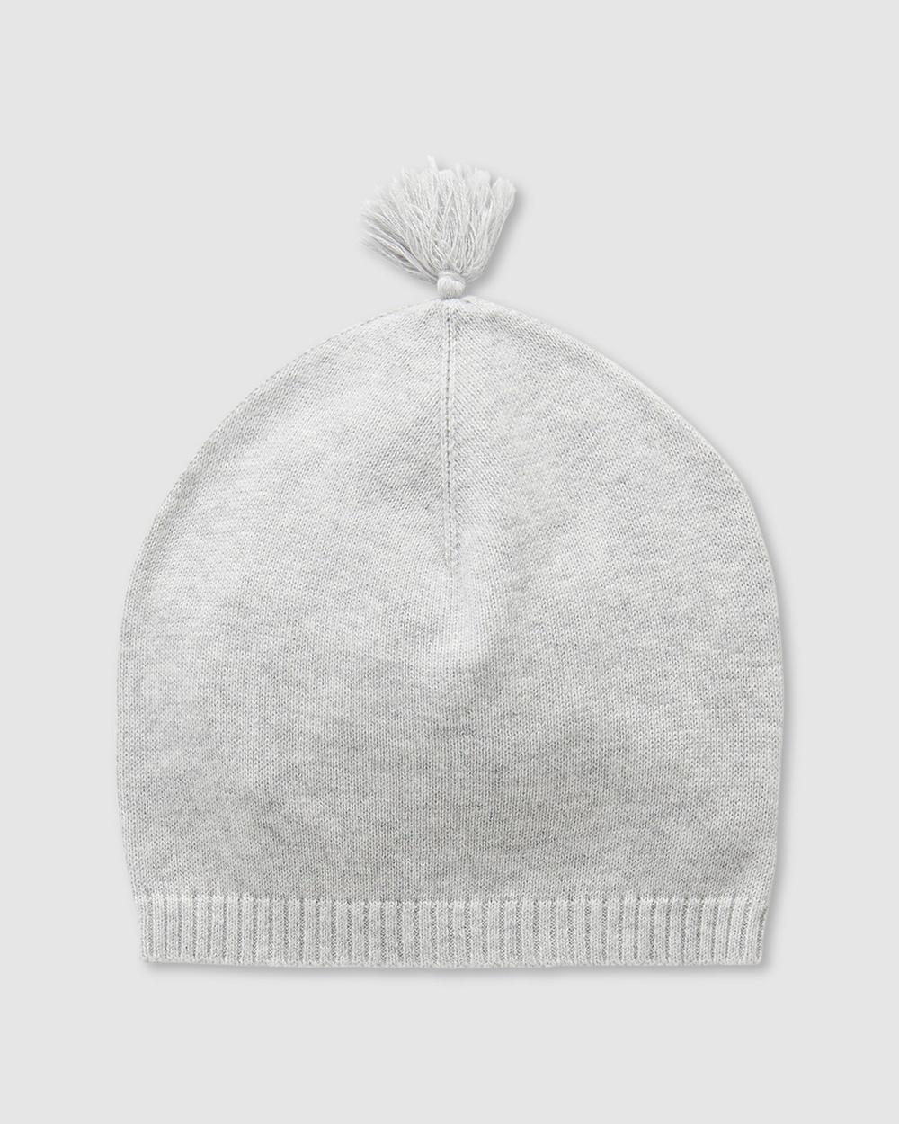 Purebaby Essentials Newborn Beanie Babies Headwear Pale Grey Melange