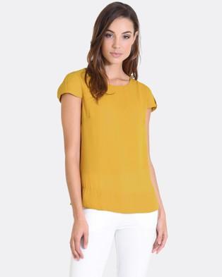 Forcast – Arya Cap Sleeve Top – Tops (Mustard)