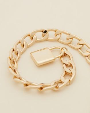 Orelia London Chunky Padlock T Bar Necklace - Jewellery (Pale Gold)