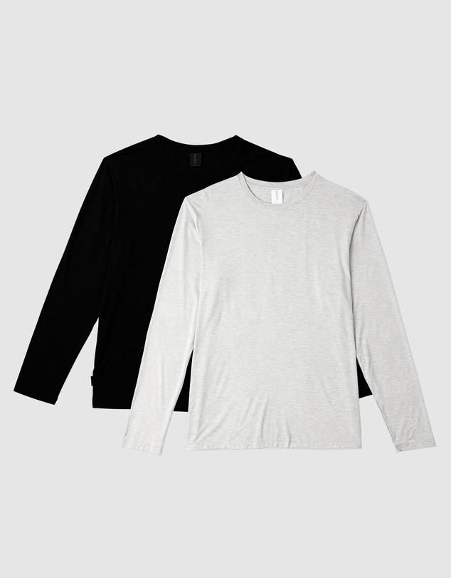 Men Men's 2 Pack Long Sleeve Crew Neck T-Shirt