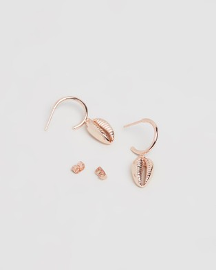Carly Paiker Athena Cowrie Hoops - Jewellery (Rose Gold)