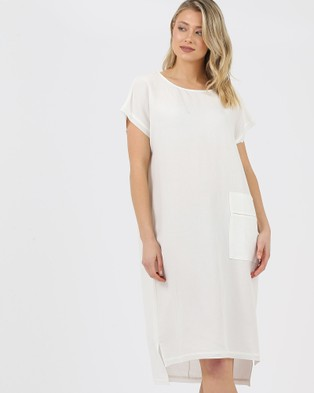 Privilege Slouch Pocket Dress - Dresses (White)