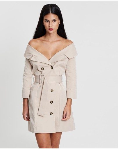 Santina-nicole Off-the-shoulder Trench Dress Stone