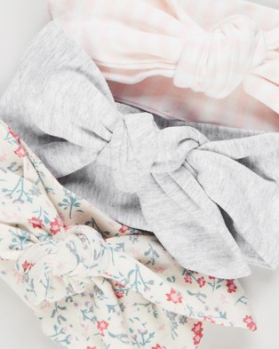 Cotton On Baby Tie Headband   3 Pack   Babies - Hair Accessories (Maude Floral & Cloud Marle & Crystal Pink Stripe)
