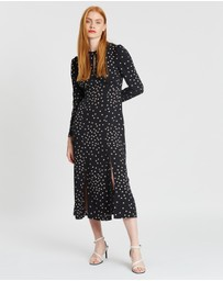 TOPSHOP - Mix Spot Piped Midi Dress