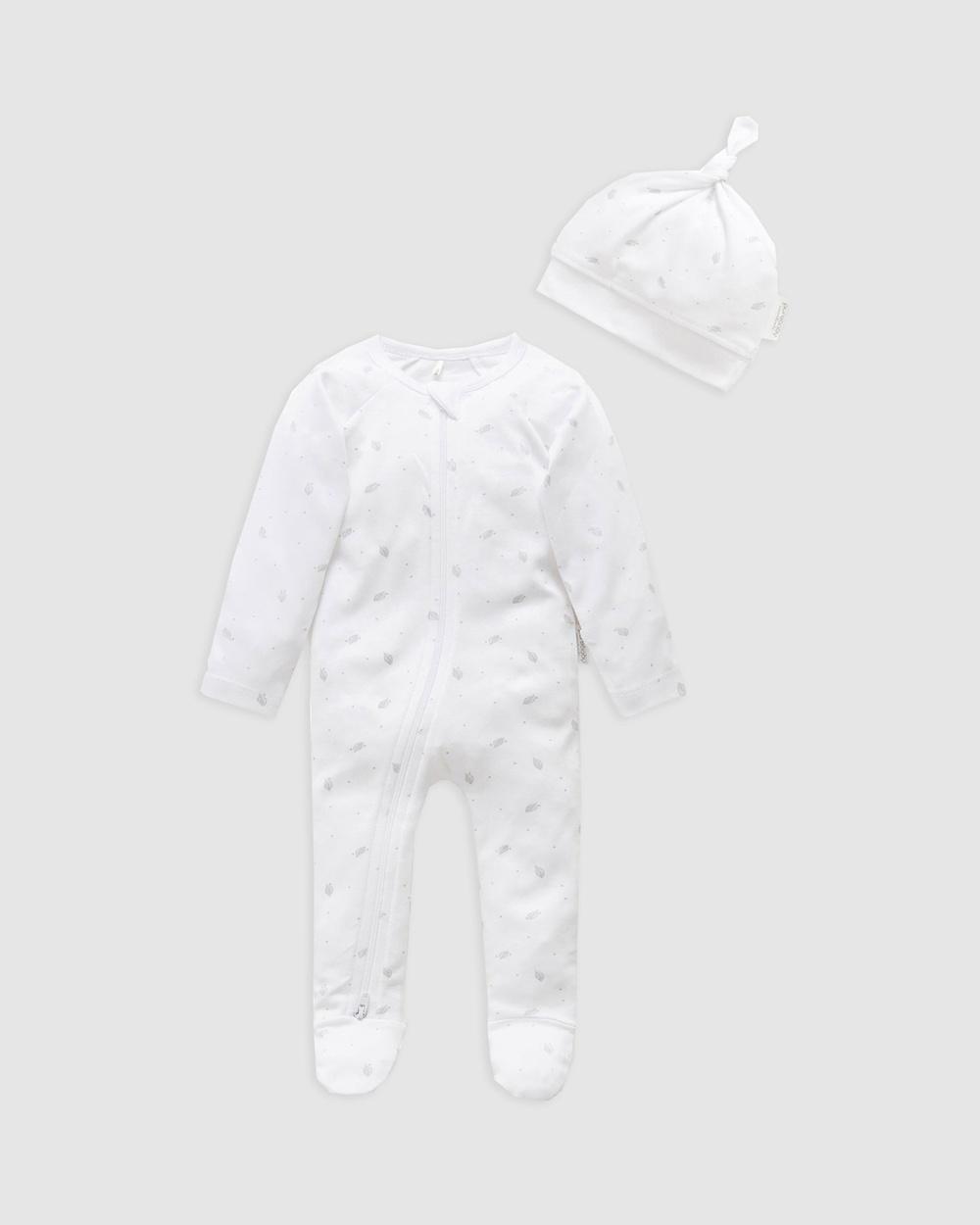 Purebaby Zip Growsuit & Hat Pack Babies Headwear Pale Grey Leaf with Spot
