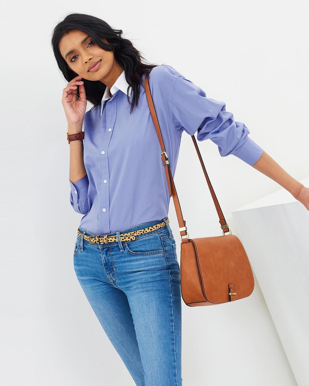 Polo Ralph Lauren Ellen Poplin Shirt Tops Blue Ellen Poplin Shirt