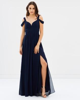 Bariano – Draped Shoulder Gown – Bridesmaid Dresses Navy