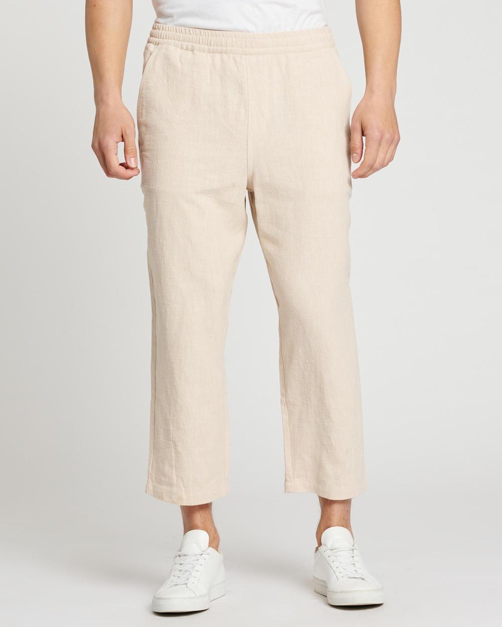 AERE Ramie Wide Cropped Pants Sand