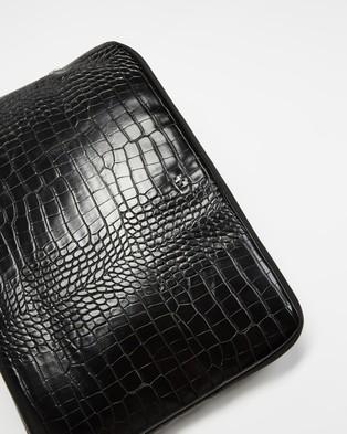 PETA AND JAIN Meli Croc Laptop Case - Tech Accessories (Black Croc)
