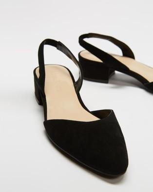 Atmos&Here Zena Leather Slingback Heels - Mid-low heels (Black Suede)