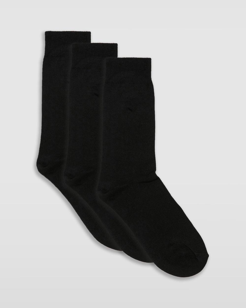 Staple Superior Bamboo 3 Pack Dress Socks Crew Black 3-Pack