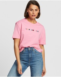 Tommy Jeans - Colour-Blocked Logo Cropped Fit T-Shirt