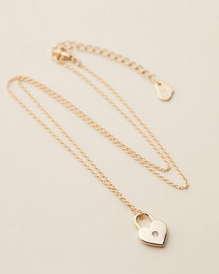 Estella Bartlett Heart Lock Necklace - Jewellery (Gold Plated)