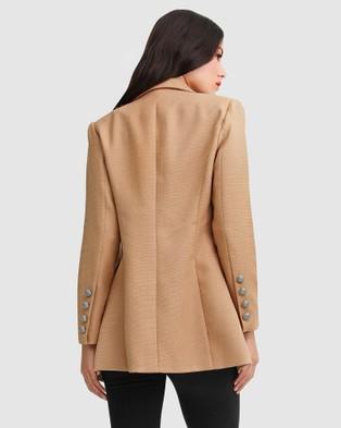 Belle & Bloom Princess Polina Textured Weave Blazer - Blazers (Camel)