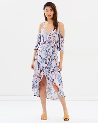 MINKPINK – Wisteria Blooms Tie Midi Dress – Dresses (Multi)