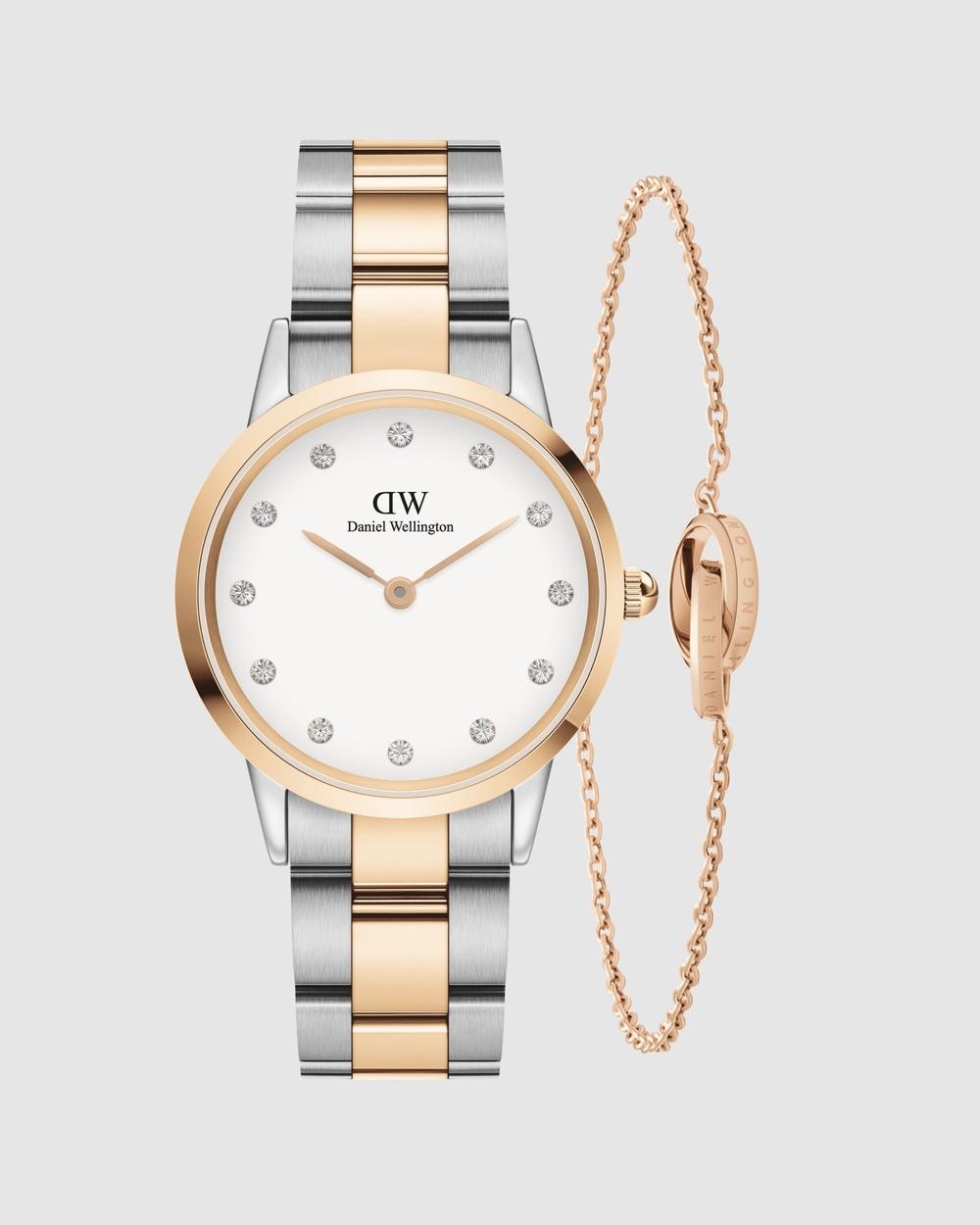 Daniel Wellington Gift Set Iconic Lumine 32mm + Elan Unity Bracelet 175mm Watches Rose gold