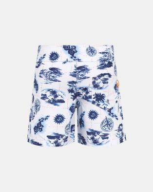 Escargot Treasure Hunt Board Shorts - Swimwear (Blue)