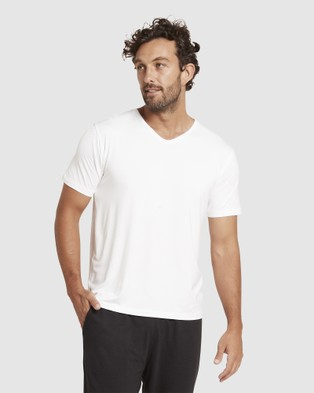 Boody Organic Bamboo Eco Wear 4 Pack V Neck T Shirt - Short Sleeve T-Shirts (White)