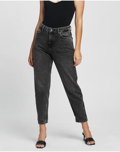 Topshop Petite Washed Mom Jeans Black