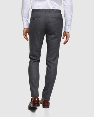 Oxford Auden Wool Checked Suit Trousers - Suits & Blazers (Grey)