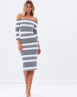 Atmos & Here – Peace Off The Shoulder Dress – Dresses (Stripe)