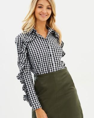 Buy Atmos & Here - Isabella Ruffle Sleeve Button Shirt Black & White Gingham - shop Atmos & Here swimwear online