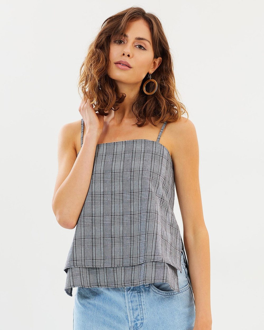 DELPHINE Assembly Top Tops Grey Check Assembly Top