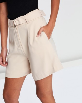 FRIEND of AUDREY Gemma Tailored D Ring Shorts - High-Waisted (Nude)