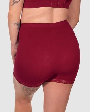 B Free Intimate Apparel Maternity Anti Chafing Petite Cotton Shorts - Briefs (Burgundy)