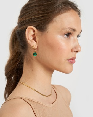 Arms Of Eve Cosmos Gold and Malachite Earrings Jewellery Gold