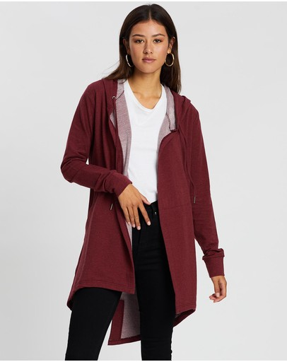 Silent Theory Ashleigh Hooded Cardigan Red
