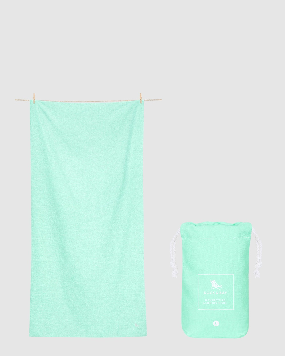 Dock & Bay Large Fitness Towel 100% Recycled Essential Collection Gym Yoga Green