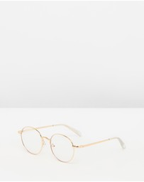 Quay Australia - I See You Gold Round Blue Light Glasses