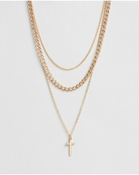 TOPSHOP - Chain and Cross Multi-Row Necklace